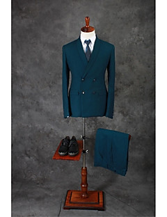 Suits Tailored Fit Shawl Collar Double Breasted Four-buttons Cotton Blend Solid 2 Pieces Straight Flapped Double (Two) Green Double (Two)