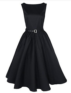 cheap Women's Dresses-Women's Work Vintage Loose Sheath Skater Dress - Solid Colored, Pleated Low Rise