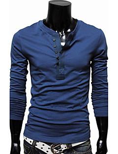 Herren Solide Lässig/Alltäglich Übergröße T-shirt Langarm Baumwolle Polyester
