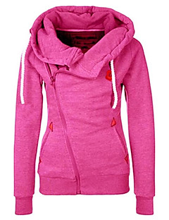 Women's Maternity Daily Casual Hoodie Jacket Solid Hooded Inelastic Polyester Long Sleeve Fall