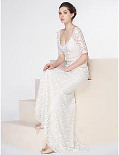 billiga Trumpet-/sjöjungfrubrudklänningar-Trumpet / sjöjungfru Scoop Neck Svepsläp Spets Bröllopsklänningar tillverkade med Spets / Knapp av LAN TING BRIDE®