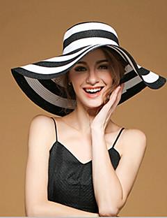 Χαμηλού Κόστους Breezy & Chic Straw Hats-Γυναικεία Καρό, Χαριτωμένο Πάρτι Φουλάρι μαλλιών