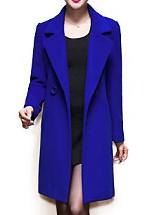 Χαμηλού Κόστους Women's Wool Coats-Γυναικεία Παλτό Συμπαγές Χρώμα, Φούντα Patchwork Μαλλί