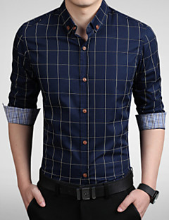 cheap Dress Shirts-Men's Work Business Plus Size Cotton Slim Shirt - Plaid Print Button Down Collar / Long Sleeve / Spring / Fall