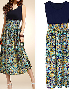 Women's Boho Boho Blue/Red/Orange Dress,Beach/Print Round Neck Sleeveless High Rise Midi