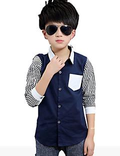 tanie Odzież dla chłopców-Koszula Bawełna Dla chłopców Prążki Wiosna Jesień Długi rękaw White Black Ciemno niebieski