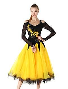 hesapli -Balo Dansı Elbiseler Kadın's Performans ChinIon Krepe Nakış Kristaller / Yapay Elmaslar Uzun Kollu Elbise