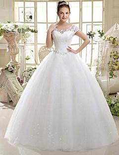 egy vonalas kanál nyak padlóhosszú csipke esküvői ruha gyöngyözve goodtimes