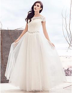 robe de mariée en dentelle au sol au cou et à la robe à la ligne avec perles par goodtimes