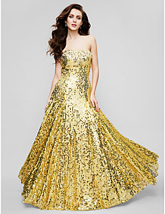 Sheath / Column Strapless Floor Length Sequined Formal Evening Military Ball Dress with Draping Sequins by TS Couture®