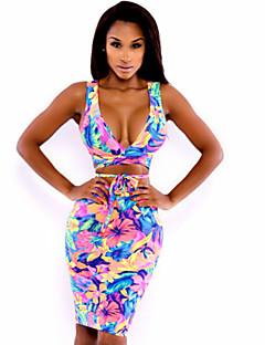 女性 ワイヤレス ストラップ付き ポリエステル ナイロン マルチピース フラワーパターン 大きく開いた胸元 フラワー