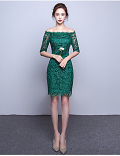 A-Line Bateau Neck Knee Length Lace Cocktail Party Homecoming Dress with Lace by TS Couture®