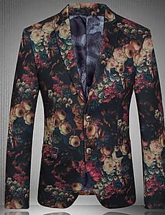 お買い得  メンズブレザー&スーツ-メンズクラブヴィンテージコットンスリムブレザー - 花柄ノッチ付きラペル