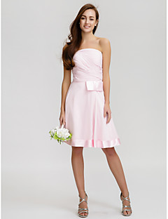 cheap Short Bridesmaid Dresses-A-Line Strapless Knee Length Chiffon Bridesmaid Dress with Bow(s) Criss Cross by LAN TING BRIDE®