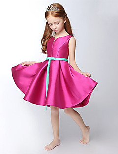 A-Line Short / Mini Flower Girl Dress - Satin Sleeveless V-neck with Ribbon