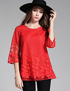 Women's Polka Dot Red / Black T-shirt , Round Neck ½ Length Sleeve