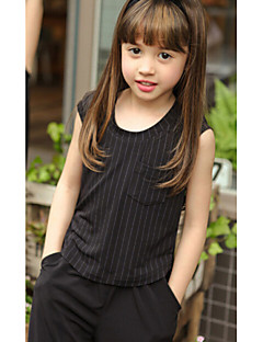 Girls' Striped Clothing Set,Cotton Spandex Summer Sleeveless Dresswear White Black