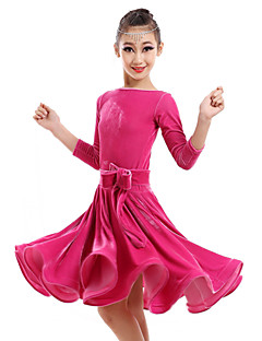 cheap New Arrivals-Latin Dance Dresses Children's Performance Velvet Flower Dress