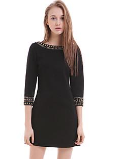 butik s dámská casual / den pevný plášť šaty, kulatý výstřih nad kolena polyesteru