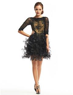 billiga Den lilla svarta-ts couture® cocktailparty klä en linje Bateau kort / mini spets / tyll med spets
