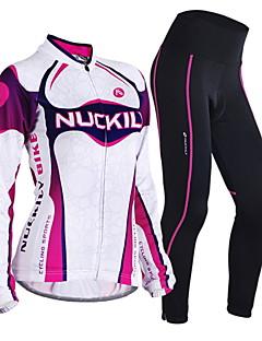 Nuckily Calça com Camisa para Ciclismo Mulheres Manga Longa Moto Conjuntos de Roupas Térmico/Quente A Prova de Vento Design Anatômico
