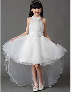 cheap Flower Girl Dresses-A-Line Asymmetrical Flower Girl Dress - Cotton Organza Sleeveless Halter with Bow(s) Pleats by LAN TING Express