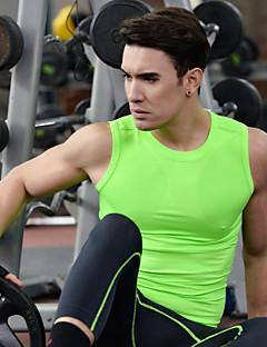 Heren Hardlooptanktop Mouwloos Sneldrogend Ademend Kleding Bovenlichaam voor Training&Fitness Hardlopen Spandex Polyester Strak Zwart