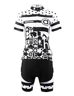 billige Sett med sykkeltrøyer og shorts/bukser-ILPALADINO Dame Kortermet Sykkeljersey med shorts - Svart/Hvit Sykkel Shorts Jersey Klessett, Fort Tørring, Pustende