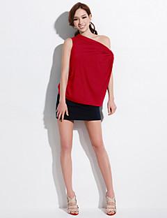 ジョアン子猫の女性の固体赤/グレー/オレンジ色のTシャツ、ボートネック半袖