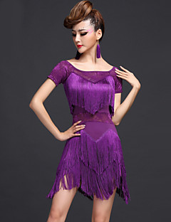 ラテンダンス ワンピース 女性用 演出 ナイロン ビスコース 2個 ドレス ショートパンツ