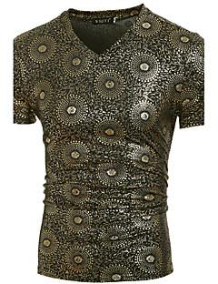 お買い得  メンズTシャツ&タンクトップ-男性用 Tシャツ, アジアン・エスニック ラウンドネック ソリッド コットン