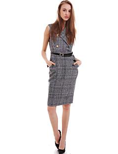 여성의 캐쥬얼 칼집 드레스 체크 미디 셔츠 카라 폴리에스테르