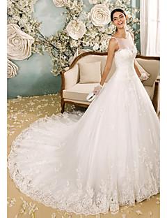 billiga A-linjeformade brudklänningar-A-linje Bateau Neck Kapellsläp Tyll Bröllopsklänningar tillverkade med Applikationsbroderi / Knapp av LAN TING BRIDE® / Genomskinliga
