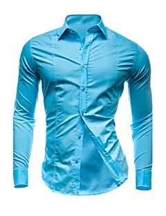 billige Herremote og klær-Bomull Tynn Klassisk krage Store størrelser Skjorte Herre - Ensfarget / Vennligst velg én størrelse over din normale størrelse.