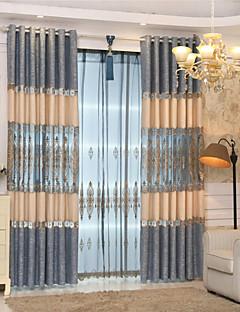 billige Gjennomsiktige gardiner-Stanglomme Propp Topp Fane Top Dobbelt Plissert To paneler Window Treatment Moderne Europeisk Middelhavet Neoklassisk Land, Broderi