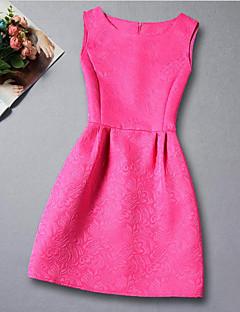 tanie Odzież dla dziewczynek-Sukienka Rayon Dziewczyny Codzienny Żakard Lato Bez rękawów Elegancka odzież Black Fuchsia Czerwony Niebieski Różowy
