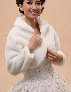 長袖 フェイクファー 結婚式 パーティー 結婚式のラップ ファーショール・ボレロ フード付き&ポンチョ With ボタン ケープレット