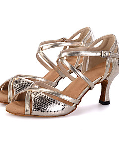 cheap -Women's Latin Shoes Leatherette Sandal / Heel / Sneaker Buckle / Animal Print / Hollow-out Flared Heel Customizable Dance Shoes Silver / Gold / Performance