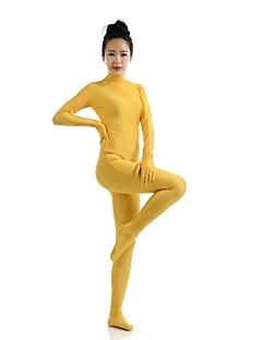 billige Zentai-Zentai Drakter Ninja Zentai Cosplay-kostymer Gul Ensfarget Trikot/Heldraktskostymer Zentai Spandex Elastan Unisex Halloween