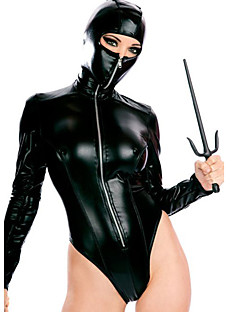 Women's With Mask Hat Leather Catsuit