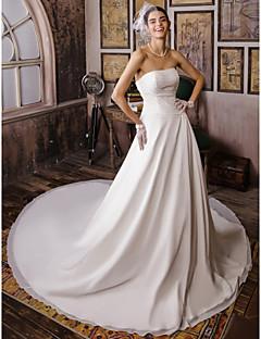 billiga A-linjeformade brudklänningar-Balklänning Axelbandslös Katedralsläp Chiffong Bröllopsklänningar tillverkade med Bård av LAN TING BRIDE®