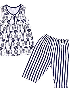Clothing Set,Cotton Summer Sleeveless Cartoon Stripes Navy Blue Red