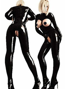 tanie Seksowne kostiumy-More Costumes Kostiumy Cosplay Damskie Sexy Uniformy Więcej mundurów Święta Halloween Karnawał Festiwal/Święto Skóra Skóra patentowa Stroje Czarny Solidne kolory