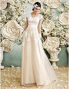 olcso -A-vonalú V-nyakkivágás Földig érő Szatén Tüll Esküvői ruha val vel Rátétek által LAN TING BRIDE®