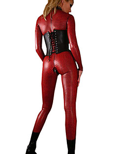 cheap Sexy Costumes-Sexy Patent Leather Catsuit Female Festival / Holiday Halloween Costumes Catwomen Black Red Solid