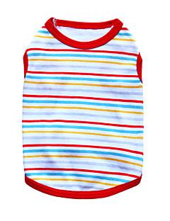 billiga Hundkläder-Katt Hund T-shirt Hundkläder Rand Svart Orange Röd Grön Blå Cotton Kostym För husdjur Herr Dam Mode