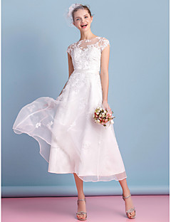 cheap Reception Dresses-A-Line Illusion Neckline Tea Length Organza Custom Wedding Dresses with Bowknot Appliques Lace Sash / Ribbon by LAN TING BRIDE®