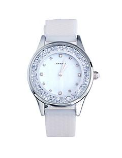 hesapli SINOBI®-SINOBI Kadın's Yüzer Kristal Saatler Moda Saat Gündelik Saatler Quartz Su Resisdansı Silikon Bant Zarif Beyaz