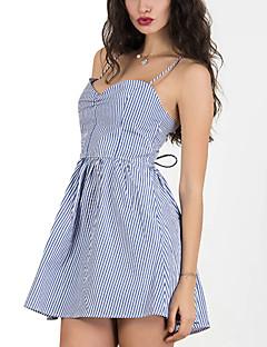 cheap Women's Dresses-Women's Punk & Gothic Sheath Dress - Striped Backless Pleated Criss-Cross Mini Strap