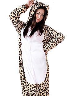 billige Kigurumi-Voksne Kigurumi-pysjamas Leopard Onesie-pysjamas Flanell Fleece Brun Cosplay Til Damer og Herrer Pysjamas med dyremotiv Tegnefilm Halloween Festival / høytid